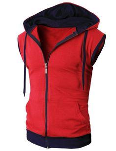 Doublju Men's Active Sleeveless Hoodie Zip-up Vest (JNSK31) #doublju