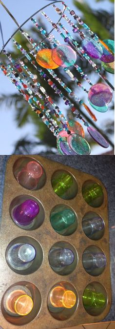 Best DIY Wind Chime Ideas For 2020 - FarmFoodFamily DIY Sun catcher/Wind chime Looking for creative ideas for your house this summer? These are over 17 awesome wind chimes tutorial that might interest you. Melted Bead Crafts, Diy For Kids, Crafts For Kids, Summer Crafts, Bohemian Crafts, Bohemian Decor, Crystal Wind Chimes, Glass Wind Chimes, Wind Chimes Craft