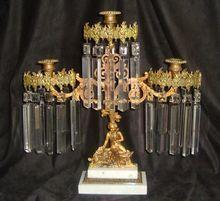Antique Victorian Brass & marble Girandole Candelabra Candlestick Man & Dog Aesthetic Eastlake