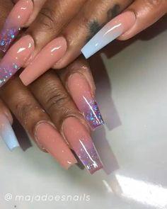 - Care - Skin care , beauty ideas and skin care tips Acrylic Nails Natural, Blue Acrylic Nails, Acrylic Nail Designs, Bright Pink Nails, Pink Glitter Nails, Aycrlic Nails, Cute Nails, Fall Nails, Halloween Acrylic Nails