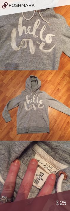 """Gray Hoodie """"Hello Love"""" 💕 Adorable gray hoodie with rose gold colored details on the strings. HELLO LOVE. Worn 2 times. Cute with leggings! H&M Tops Sweatshirts & Hoodies"""