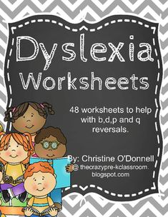 This set now contains 48 worksheets designed to help children practice the common reversals of b,d,p and q. I made these for my dyslexic son and have also been using them in my kindergarten classroom to strengthen my students abilities to recognize these letters easily.