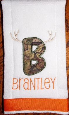 Personalized burp cloth  camouflage letter with horns by LadybugLB, $15.00