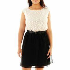 Luxology Lace-Bodice Dress - Plus - JCPenney