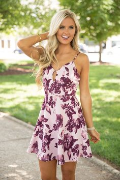 No Matter How Far Floral Dress Mauve - The Pink Lily