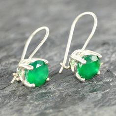 Green Onyx Jewelry Sterling Silver Earrings by EfratJewelry