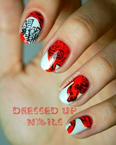 The Catcher in The Rye manicure... Click for the 19 sets of Literary nails (Harry Potter, The Little Prince, Fahrenheit 451, A Clockwork Orange and more)