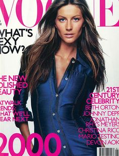 January 2000 Gisele Bundchen wears silk shirt dress, £900, at Versace Boutique; and Versace Collections, Glasgow. All make-up by Clarins. Hair: Ward for Bumble & Bumble, NYC. Make-up: Mark Carrasquillo. Fashion editor: Tina Laakonen. Photography: Tom Munro.