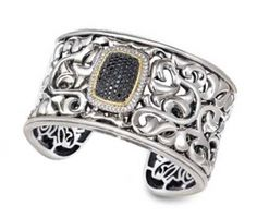 Charles Krypell Black Diamond Cuff in Sterling and 18K