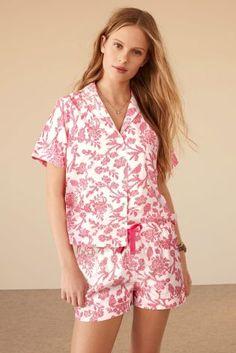 Pink Floral Print Cotton Button Through Short Set