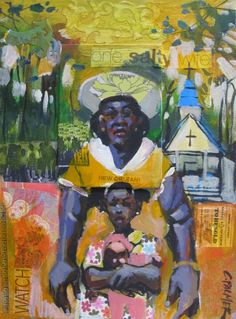 """Charly Palmer (American, born 1960) ~ """"salty wife"""" ~ mixed media collage on canvas"""