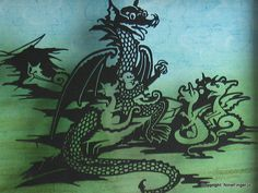 Papercut Art A4 Dragon Family Story Time by NineFingerJo on Etsy