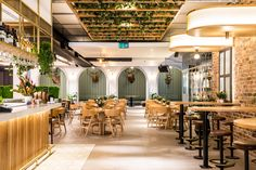 Molecola ceiling light and Etoile wall light by Il Fanale at the The Governor Hotel in Macquarie Park, Sydney. Cafeteria Design, Light Decorations, Table Decorations, Bar Design Awards, Exposed Brick Walls, Lighting Showroom, Rooftop Bar, Cool Lighting, Ground Floor
