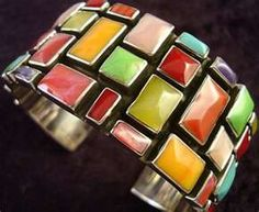 Mexican silver multi color stone cuff...just gorgeous.