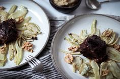 Braised Veal Cheeks with Baked Fennel and Gorgonzola - Oh La Latkes Baked Fennel, Gorgonzola Cheese, Christmas Lunch, Keto Dinner, Tray Bakes, New Recipes, Side Dishes, Food Porn, Paleo