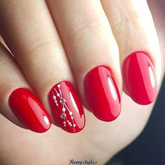 96 Awesome Red Nail Art Ideas, Nail Design Red Nails Coffin Acrylic Designs Art Ideas, Amazing Red Nail Art Designs & Ideas for Girls 2013 90 Red Nail Art Designs 2019 Best Manicure Ideas Nailsstock, Look at these Red Nail Art Ideas. Oval Nail Art, Red Nail Art, Red Nail Polish, Oval Nails, Red Art, Red Nail Designs, Simple Nail Designs, Bar Designs, Nagel Blog