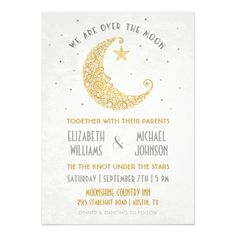 Over the Moon Wedding Invitation Gold — A celestial golden lace moon with silver stars make this unique wedding invitation perfect for any romantic evening celebration.  Great for any vintage, deco, nature, outdoor, spiritual, astronomy, astrology, planetarium, lovers. Original Illustration by pj_design.