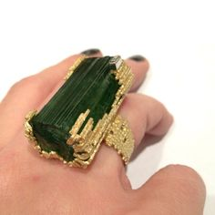 Grima Tourmaline Crystal, Yellow Gold and Diamond Ring
