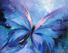 Butterfly blue, Abstract, art, blue butterfly, clouds, pink