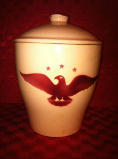 WATT POTTERY EAGLE #72 CANISTER COOKIE JAR TAPERED SIDES RARE HARD TO FIND #Watt