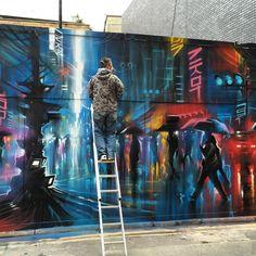 """""""Jerome Street / East London - 'Downtown' work in progress / with @globalstreetart"""""""