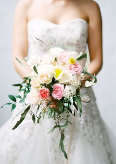 unruly rose and poppy bouquet