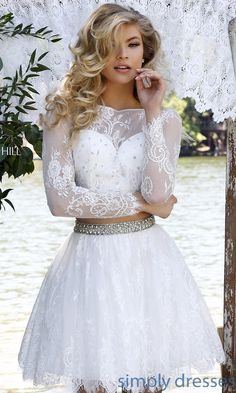 Dresses, Formal, Prom Dresses, Evening Wear: Short Lace Sherri Hill Dress with Long Sleeves
