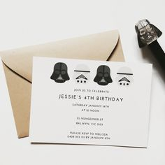 Star Wars invitation using 100% tree free paper stock, designed by Jakbern Creative