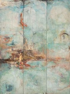 "Mind In The Waters. 48"" x 36"" x 1.5"" triptych on wood by Jennifer Perlmutter"
