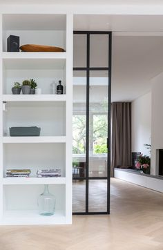 Easy Room Divider Doors room divider bookshelves home.Room Divider Bookshelves Home. Home Interior, Home Living Room, Interior Design Living Room, Interior Doors, Room Divider Doors, Sliding Room Dividers, Room Divider Shelves, Divider Cabinet, Glass Room Divider