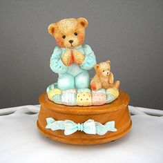 """Cherished Teddies Music Box 1992 Plays """"Jesus Loves Me"""" Collectible by Pricilla Hillman """"Thank You For a Friend That's True"""""""