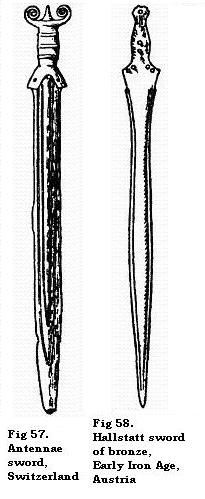 Antennae sword, Switzerland; Hallstatt sword of bronze, Early Iron Age, Austria