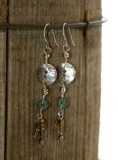 Long Bohemian Chic Button Earrings - Earthy Urban Chic Jewelry by YaY Jewelry