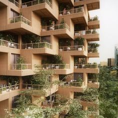 Plants and trees sprout from the modular units that make up this timber-framed high-rise, proposed by architecture firm Penda for Toronto.