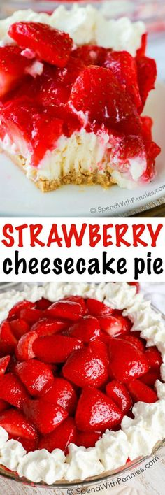 Easy Strawberry Cheesecake Pie is one of our favorite NO BAKE summer desserts! Rich and creamy cheesecake is topped with glazed fresh summer strawberries and a hint of lemon. It's easy to see why this is a favorite recipe! Strawberry Cheesecake Pie is one Brownie Desserts, Desserts Menu, Mini Desserts, Delicious Desserts, Dessert Recipes, Cheesecake Desserts, Party Recipes, Pie Recipes, Baking Desserts