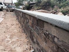 Perfectly flat, cut stone wall Nantucket