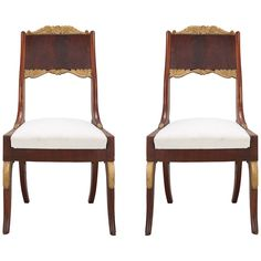 Pair of Russian Empire Mahogany Side Chairs, 1800-1820 | From a unique collection of antique and modern side chairs at https://www.1stdibs.com/furniture/seating/side-chairs/