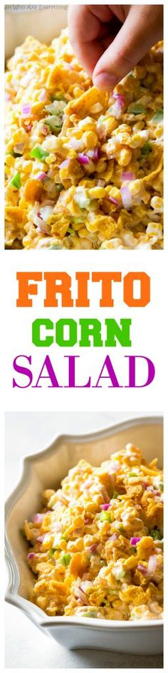 Frito Corn Salad Recipe The Girl Who Ate Everything Frito Corn Salad this is your game day recipe Corn Fritos peppers and onion So good Corn Salad Recipes, Corn Salads, Recipes With Corn, Easy Recipes, Frito Corn Salad, Fritos Salad, Frito Corn Dip, Corn Dip With Fritos, Corn Chip Salad