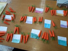 How teacher can use carrots at the individual lesson Count from 1 to ten Use numbers cards of your student and artificial carrots