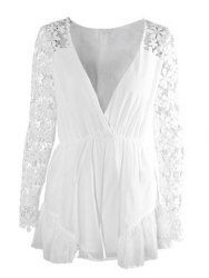 Stylish Plunging Neckline Lace Splicing 3/4 Sleeve Jumpsuit For Women
