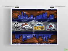 Denver Sports Poster, Denver BRONCOS, Denver NUGGETS, Colorado ROCKIES                      – McQDesign