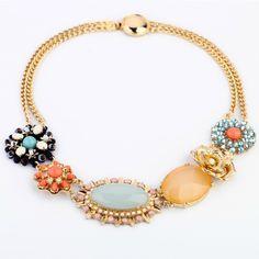 Fashion Accessories Gem Flower Women's Necklace Factory Wholesale $6,61