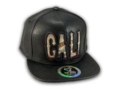 e6f6fdb65ca This is a High Quality Black Leather California Republic Snapback Hat. It  has Embroidered Cali Script in on the Front! With California Republic Bear  in the ...