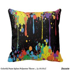 Colorful Paint Splats Polyester Throw Pillow