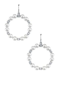 HauteLook:Sterling Silver White Freshwater Pearl & CZ Hoop Earrings 89.00/399.00