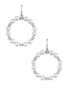 Sterling Silver White Freshwater Pearl & CZ Hoop Earrings