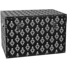 Oriental Furniture Damask Storage Trunk - Black