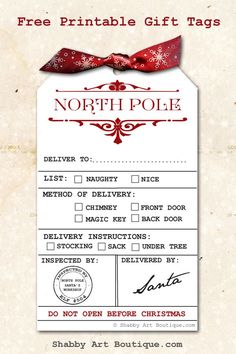 Gorgeous free printable North Pole Delivery tags from Shabby Art Boutique.