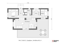 Bungalow bauen mit zwei FlyingSpace Wohnmodulen | SchwörerHaus Tiny House, Floor Plans, Spaces, Build House, Tiny Houses, Floor Plan Drawing, House Floor Plans