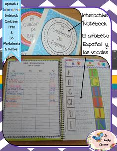 This interactive notebook set includes:  El alfabeto Español y las vocales - The Spanish Alphabet & Vowels- foldable flaps for learning phonics and new words (including articles) that start with each letter. Encourages complete Spanish sentences using new words. Includes full size pictures, anchor chart, instructions, games, and extra credit challenges.$